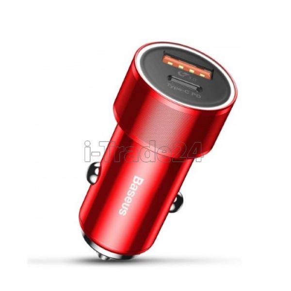 Автомобильная зарядка Baseus Small Screw Type-C PD+USB Quick Charge Car Charger 36W Red