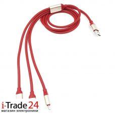 Универсальный дата-кабель 3 в 1, красный