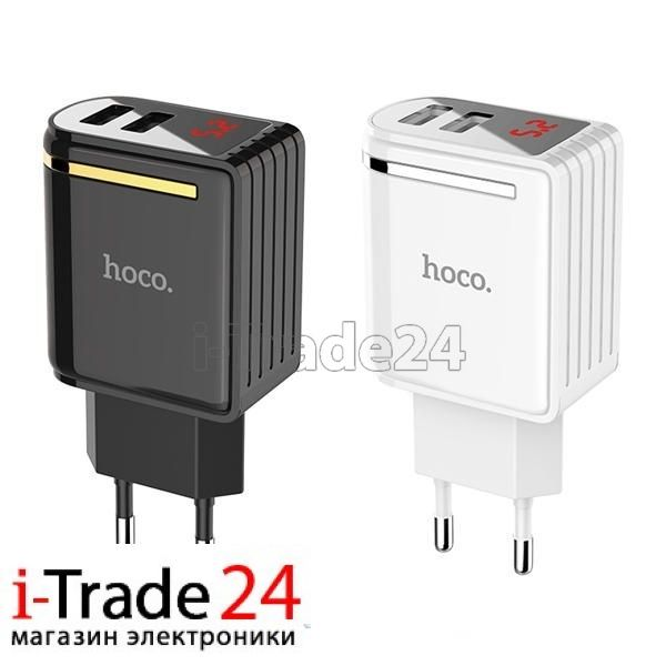 Сетевое зарядное устройство Hoco C39A на 2 USB с дисплеем