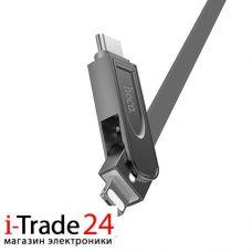 Универсальный дата-кабель HOCO U24 3 в 1 - Micro-usb / Lightning / Type-C
