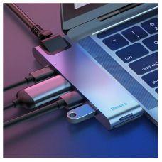 Адаптер Baseus Thunderbolt C+ Dual Type-C to USB3.0/HDMI/Type-C Female HUB Converter Deep Space Grey (CAHUB-B0G)