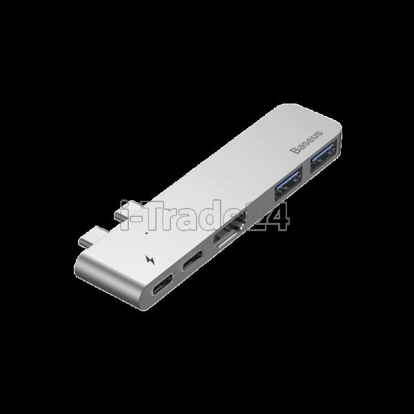 Адаптер Baseus thunderbolt C+Pro Seven-in-one smart HUB docking station Grey