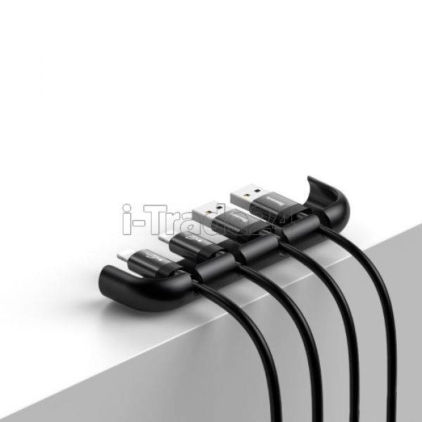 Держатель для проводов Baseus Cable Fixing Magic Tool Self-adhesive Cable Organizer Cable Clip (iPhone XR) Black