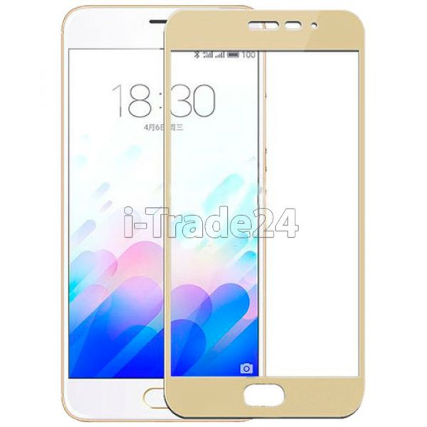 Защитное стекло полного покрытия для Meizu PRO 5 золотистое