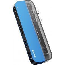 Адаптер Baseus Transparent Series Type-C Multifunctional HUB Adapter(Type-C to Type-C*2+USB3.0*2+4K HD*1) Blue