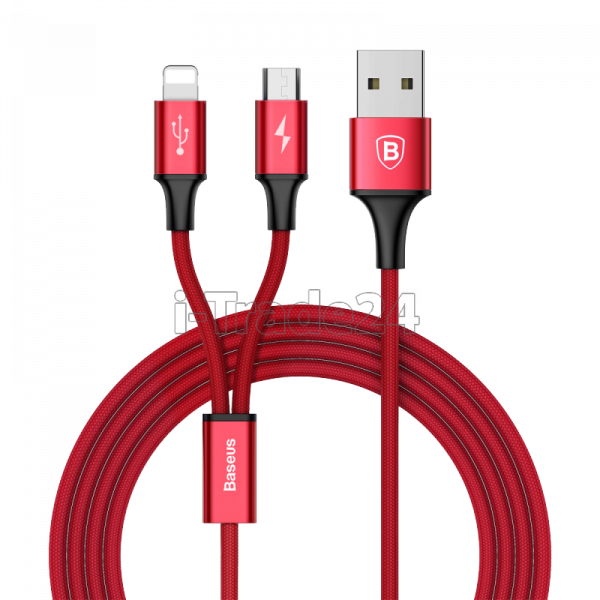 Кабель Micro USB Lightning Baseus Rapid Series 2-in-1 cable 3A 1.2m Red