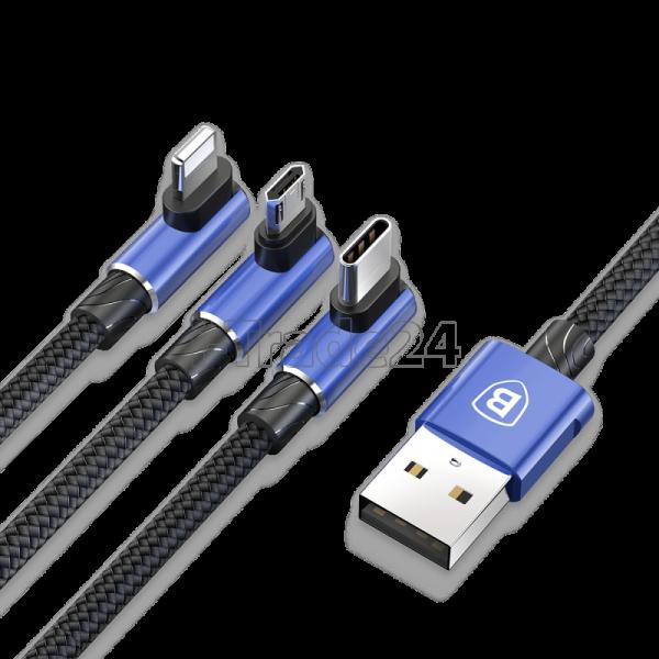 Кабель для iPhone Micro, Type-C, Baseus MVP 3-in-1 Mobile game Cable Blue