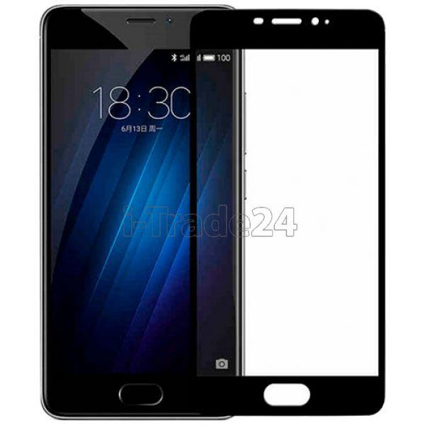 Защитное стекло полного покрытия для Meizu M5 Note черное