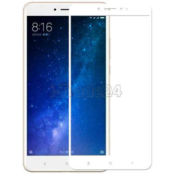 Защитное стекло полного покрытия для Xiaomi Mi Max 2 белое