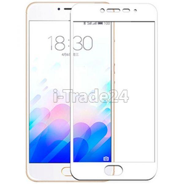 Защитное стекло полного покрытия для Meizu M5 Note белое
