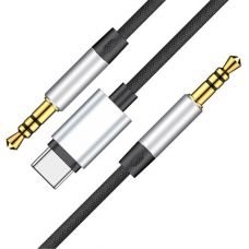 Кабель Baseus L38 Type-C 3.5 mm to 3.5 mm AUX Audio Cable 1.2m Silver/Black
