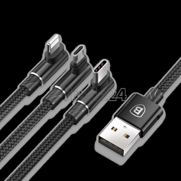 Кабель для iPhone Micro, Type-C, Baseus MVP 3-in-1 Mobile game Cable Black