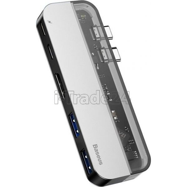 Адаптер Baseus Transparent Series Type-C Multifunctional HUB Adapter(Type-C to Type-C*2+USB3.0*2+4K HD*1)Deep gray